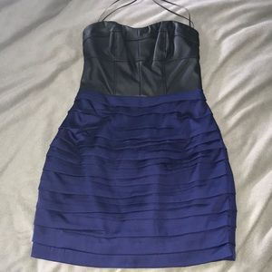 Pleated Leather/Navy Blue Dress